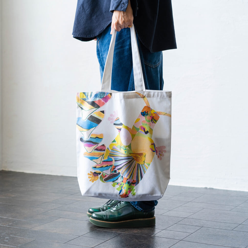 秋田人形道祖神トートバッグ(御返事のカシマサマ)